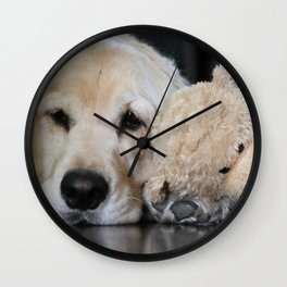 Golden Retriever with Best Friend Wall Clock