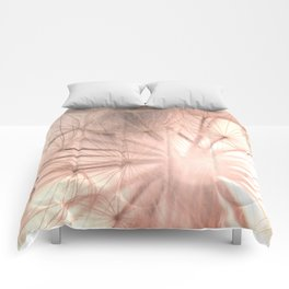 Pink Dandelion Macro Nature Photography Art and Apparel Comforters