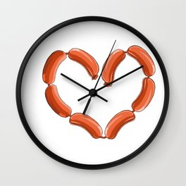 Sausage Heart Party Yummy Oktoberfest German Wall Clock