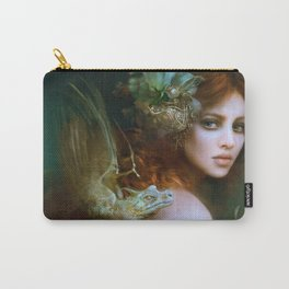 Mint & Roses - Girl with dragons Carry-All Pouch