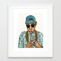 tyler the creator Framed Art Prints featuring Tyler, The Creator by Daniel Cash