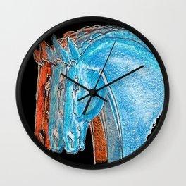 """""""Three Horses"""" Wall Clock"""