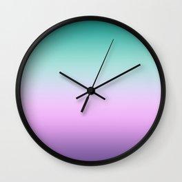 Ombre Pastel Mint Pink Ultra Violet Blurred Gradient Minimal Pattern Wall Clock