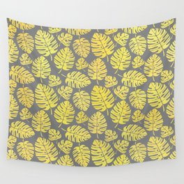 Leaves in Yellow and Grey Pattern Wall Tapestry