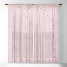 Los Angeles, California City Map in Rose Quartz Sheer Curtain