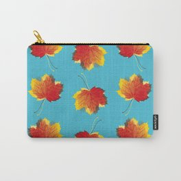 Autumn leaves red yellow on blue Carry-All Pouch