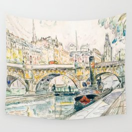 Tugboat at the Pont Neuf, Paris by Paul Signac (1923) Wall Tapestry