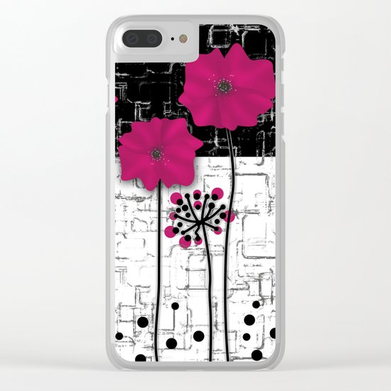 Crimson flowers on black and white background. Clear iPhone Case