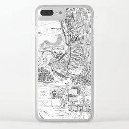 Vintage Map of Oakland California (1959) BW Clear iPhone Case
