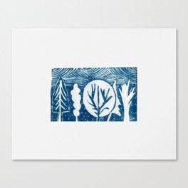 linocut trees print Canvas Print