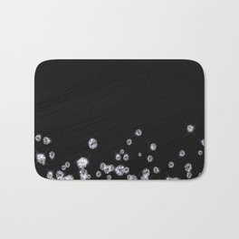 Glitter Diamonds on black silk fabric- Luxury design Bath Mat