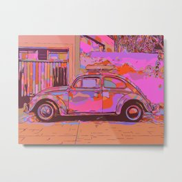 Beetle in front of a wall and garage Metal Print