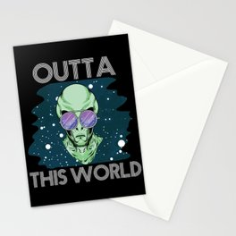 Outta This World T-Shirt Funny Alien Space Men Women Kids Gift Stationery Cards
