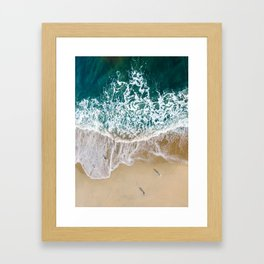 Seagulls And The Salty Sea - Aerial Drone Photograph by Nalu Art Studio Framed Art Print