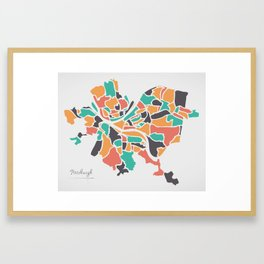 Pittsburgh Pennsylvania Map with neighborhoods and modern round shapes Framed Art Print