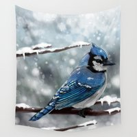 jay fleck Wall Tapestries featuring Blue Jay by Ben Geiger