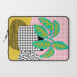Get Real - potted plant throwback retro neon 1980s style art print minimal abstract grid lines shape Laptop Sleeve