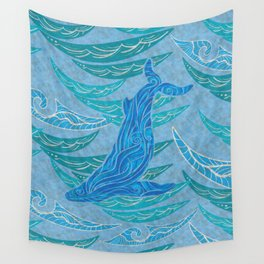 Watercolor Whale Dive Wall Tapestry