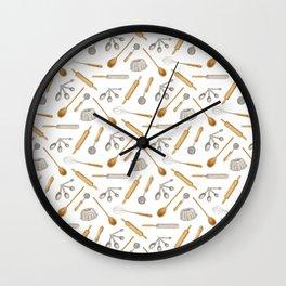 vintage watercolor baking pattern Wall Clock