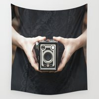 vintage camera Wall Tapestries featuring Vintage Camera by Maria Heyens