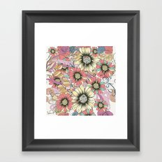 Cute pink pattern with lovely flowers Framed Art Print