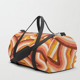 Vintage Orange 70's Style Rainbow Stripes Duffle Bag