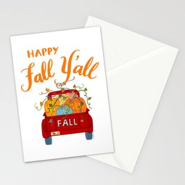 Happy Fall Y'all Vintage Pumpkin Truck Hand Lettered Hand Drawn Stationery Cards