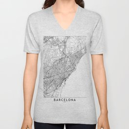 Barcelona White Map Unisex V-Neck