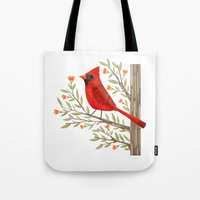 cardinal Tote Bags featuring Cardinal by Stephanie Fizer Coleman