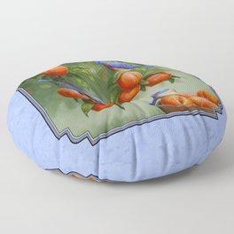 Bluebirds and Peaches Floor Pillow