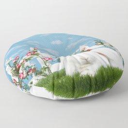 White lop eared bunny in a flower garden Floor Pillow