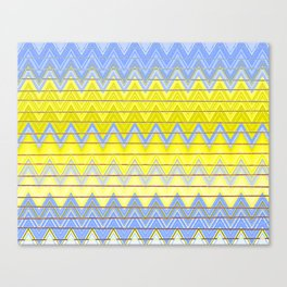 Simple Yellow Grey and Periwinkle Blue Zig Zag Modern Canvas Print