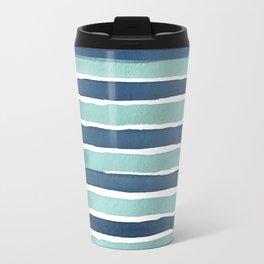 Aqua Teal Stripe Travel Mug
