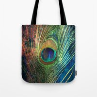 peacock feather Tote Bags featuring peacock feather by mark ashkenazi
