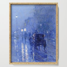 Childe Hassam  -  Rainy Midnight Late s Serving Tray