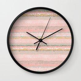 Little Textured Dots Pink Wall Clock