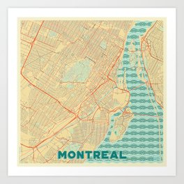 Montreal Map Retro Art Print