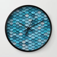 bisexual Wall Clocks featuring light turquoise sparkling scales by Better HOME