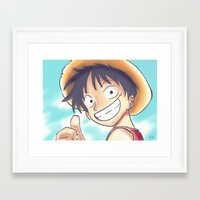luffy Framed Art Prints featuring Monkey D Luffy by Preeti Rajendran