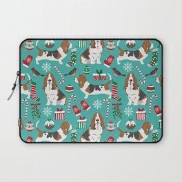 Basset Hound christmas pattern print pet friendly dog breed art for holiday decor Laptop Sleeve