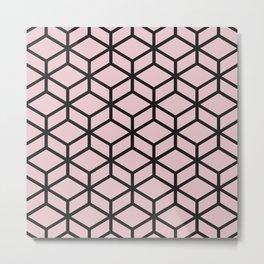 Minimal - Black and Pink Metal Print
