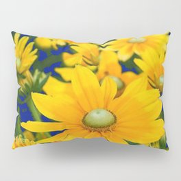 DECORATIVE DEEP BLUE YELLOW FLORAL GARDEN Pillow Sham