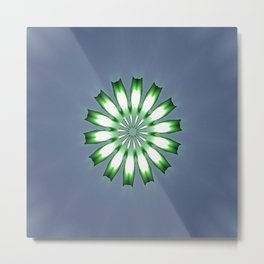 Floral Button on Blue Gray Mandala Abstract Metal Print