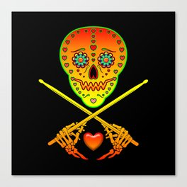 Neon Sugar Skull Drummer. Canvas Print