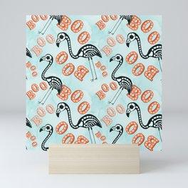 Boo Halloween Flamingo Skeleton Mini Art Print