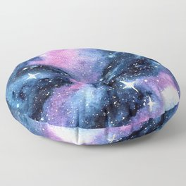 Twinkling Pink Watercolor Galaxy Floor Pillow