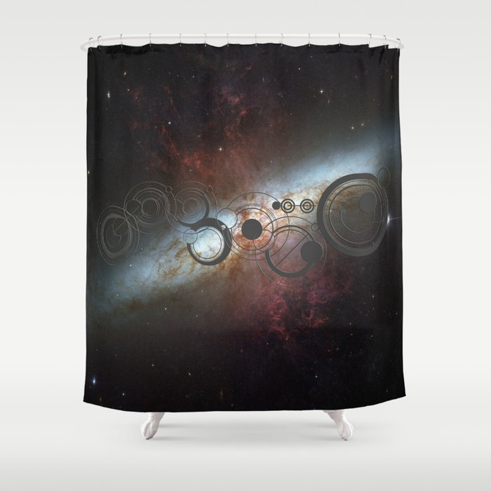 Doctor Who Allons-y Gallifrey  with the Starburst Galaxy M82 Shower Curtain