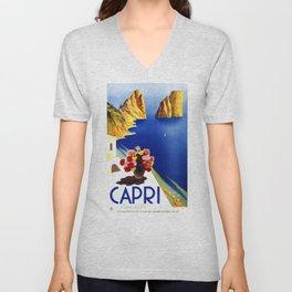 1952 Capri Italy Travel Poster Unisex V-Neck
