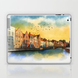 Landscape with beautiful medieval houses and canals. Bruges, Belgium. Laptop & iPad Skin