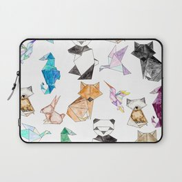 Cute Hand Drawn Geometric Paper Origami Animals Laptop Sleeve